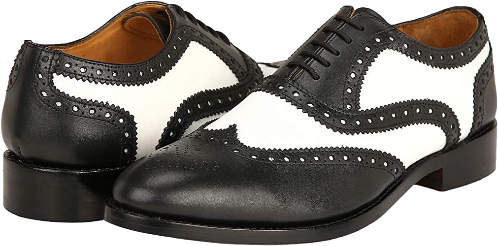edv0d2v266 Geninue Leather Spectator Shoes Mens Black White Lace up Wing Tip Perforated Dress Shoes