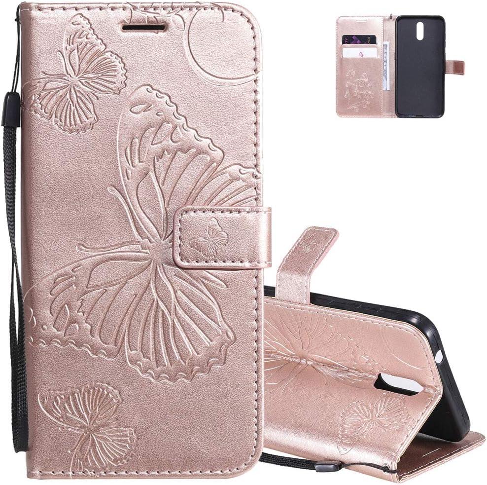 funda estilo billetera flip cover para nokia 2.3 rosa