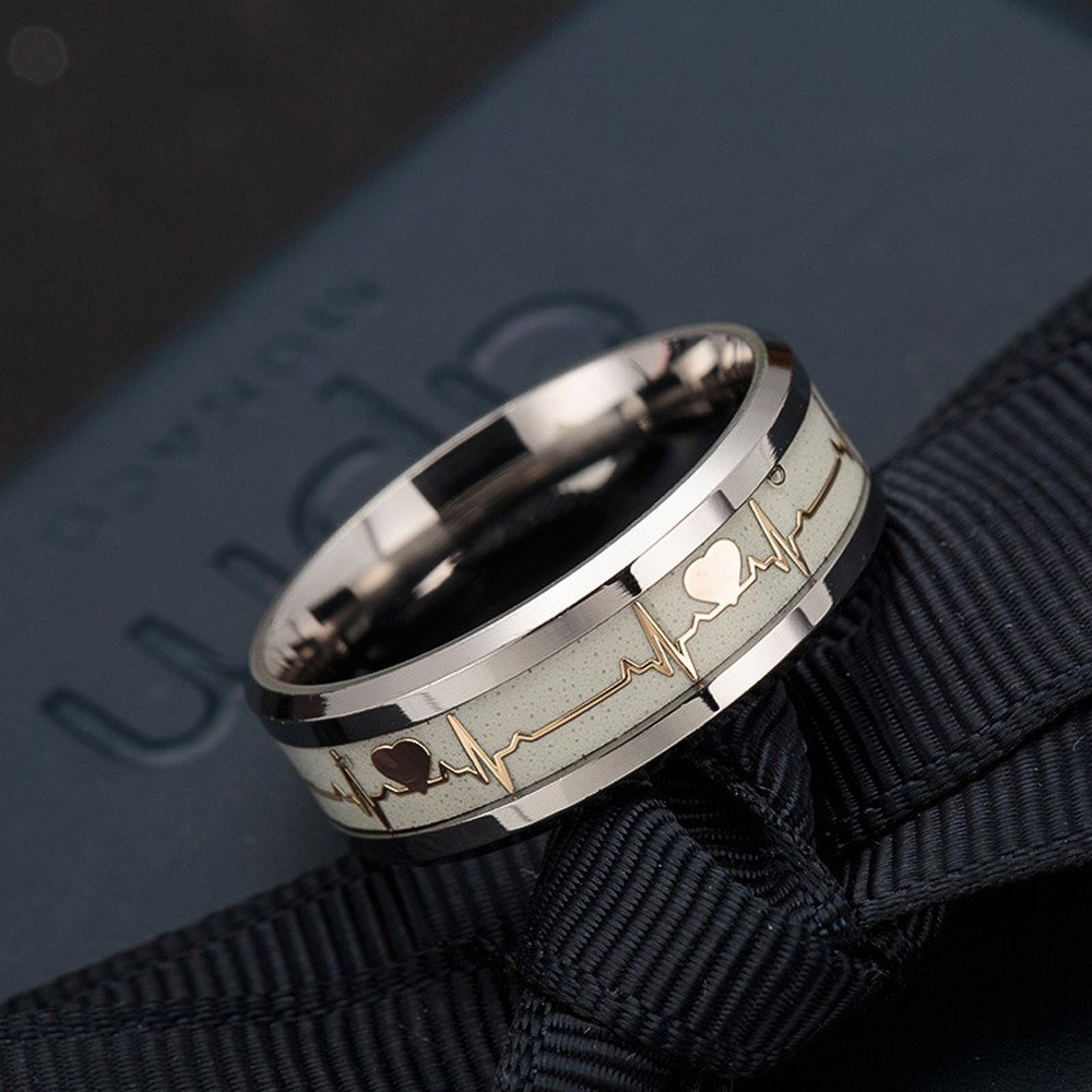 Rings Set Waves,Discountsday Electrocardiogram Ring Lovers Carbon Fiber Ring Luminous Ring Accessories