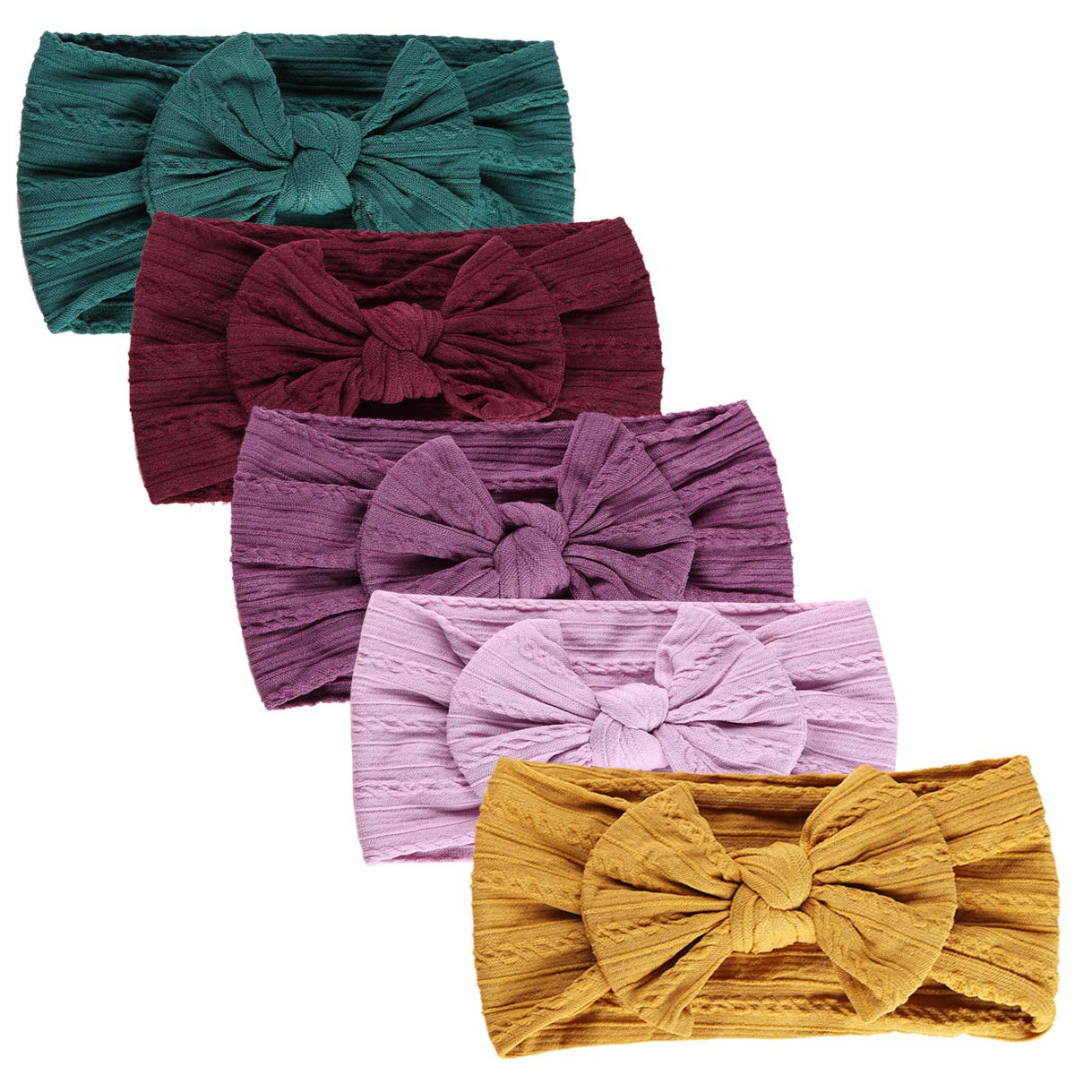 One size Children Baby Girl Headbands and Bows Classic Knot Nylon Headwrap Super Soft Stretchy Nylon Hair bands for Newborn Toddler Multicoloured
