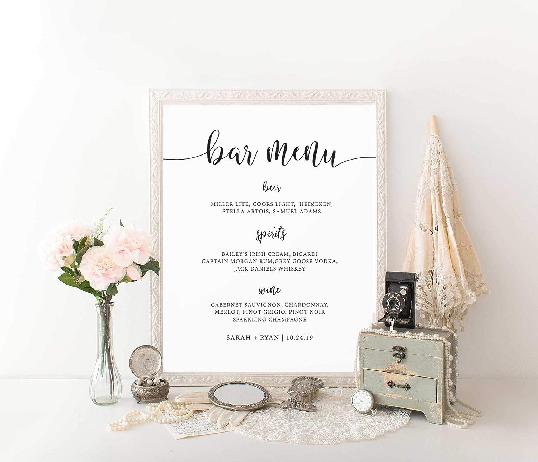 Amazon Com Wendore Wedding Bar Menu Template Wedding Drink
