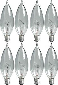 GE Lighting Crystal Clear 66104 25-Watt, 220-Lumen Bent Tip Light Bulb with Candelabra Base, 8-Pack
