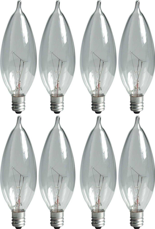 GE Lighting Crystal Clear 76236 40-Watt, 370-Lumen Bent Tip Light Bulb with Candelabra Base, 8-Pack by GE Lighting