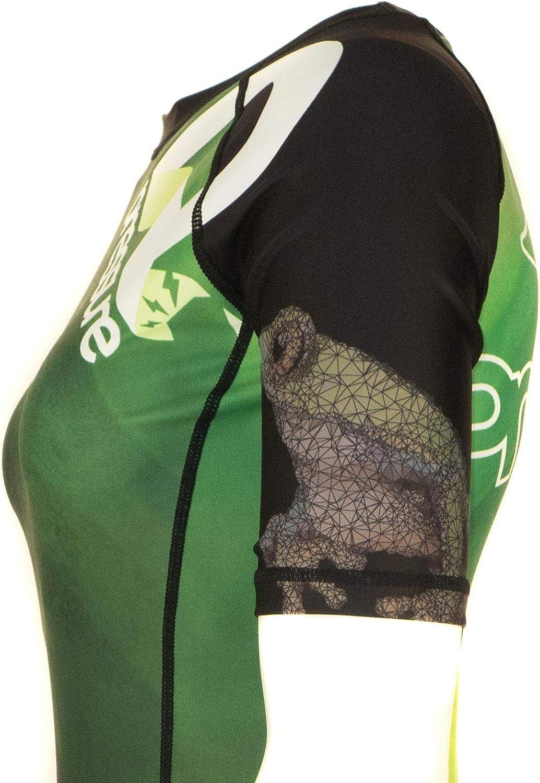 Pressure Grappling Womens Premium BJJ Short Sleeve Belt Rank Rash Guards with Lockdown Band