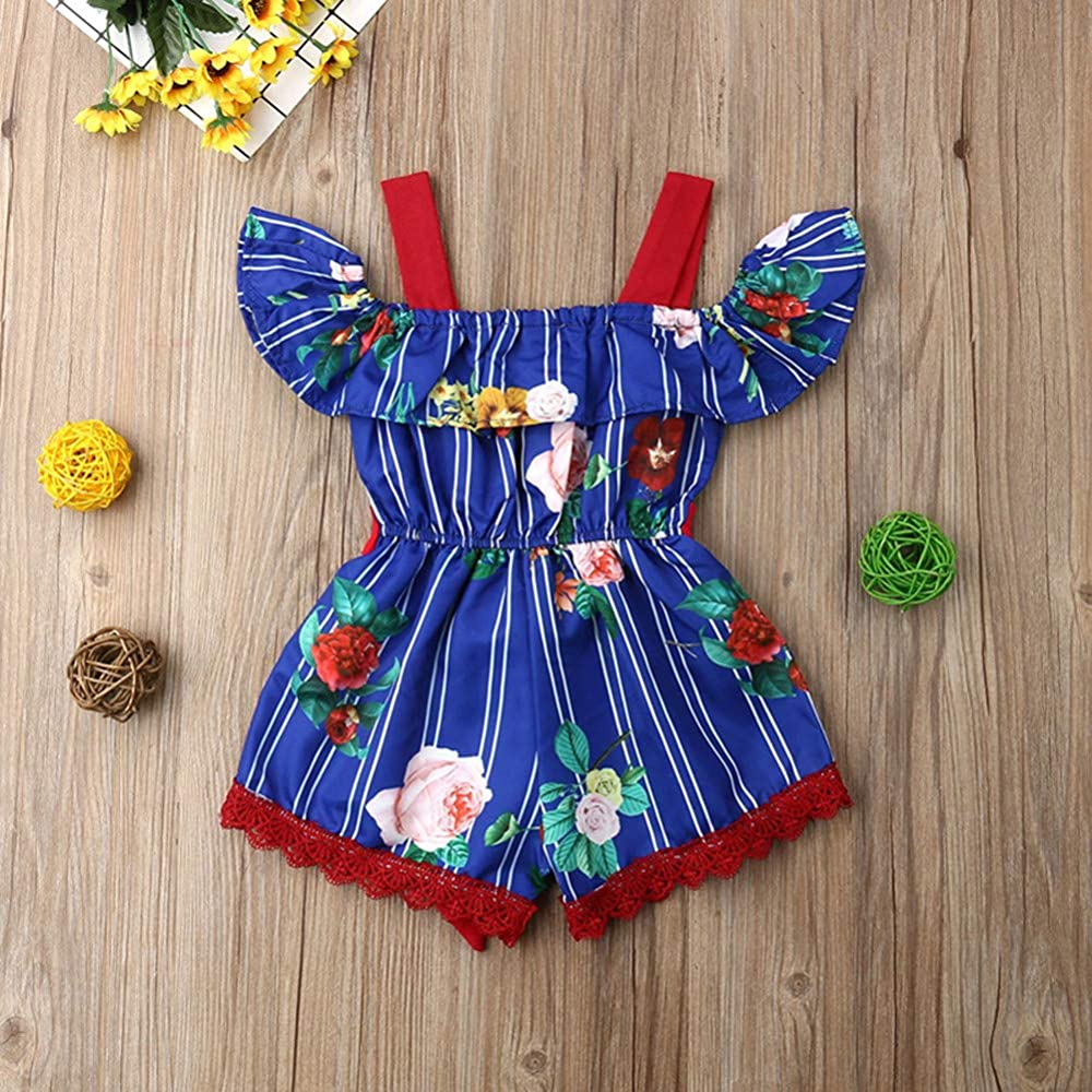 Toddler Baby Girl Sunflower Ruffle Halter Romper Jumpsuit Overall Shorts Summer Clothes (Sunflower B, 6-12 Months)