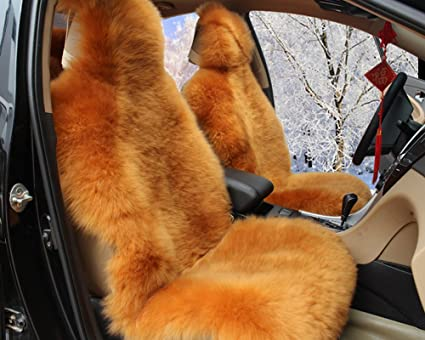 Enjoyable Oflba 1Pcs Faux Sheepskin Car Seat Cover For Suv Long Wool Universal Fit Fur Seat Cushion Gold Camel Pabps2019 Chair Design Images Pabps2019Com