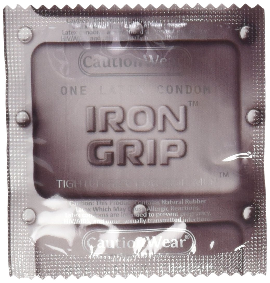 Caution Wear Iron Grip Snug Fitting Lubricated Latex Condoms with Silver Pocket/Travel Case- 24 Count