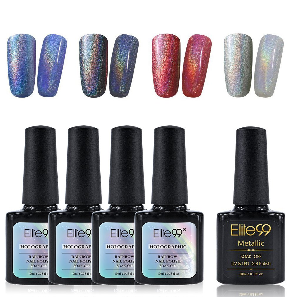 Amazon.com : Elite99 Holographic Rainbow Nail Polish Set