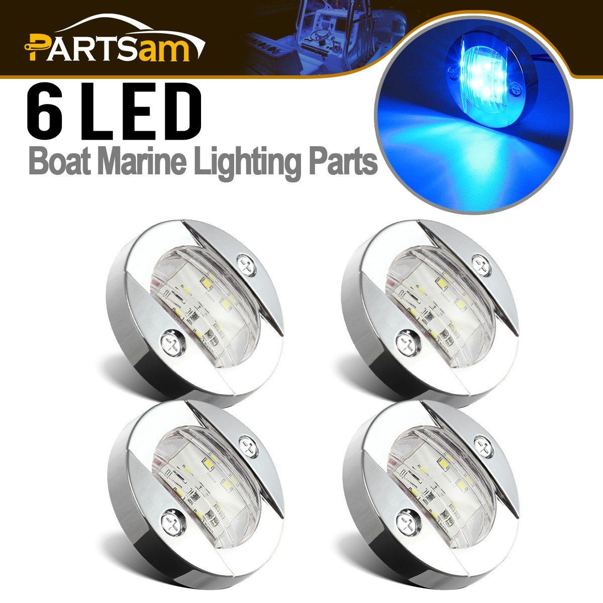 Partsam 4Pcs 3'' inch Round Chrome Marine Clear Lens Blue LED Transom Mount Stern Anchor Navigation Lights IP67 Waterproof,Round Boat Marine Lamps 6-2835-SMD,Boat LED Stern Lights 12V