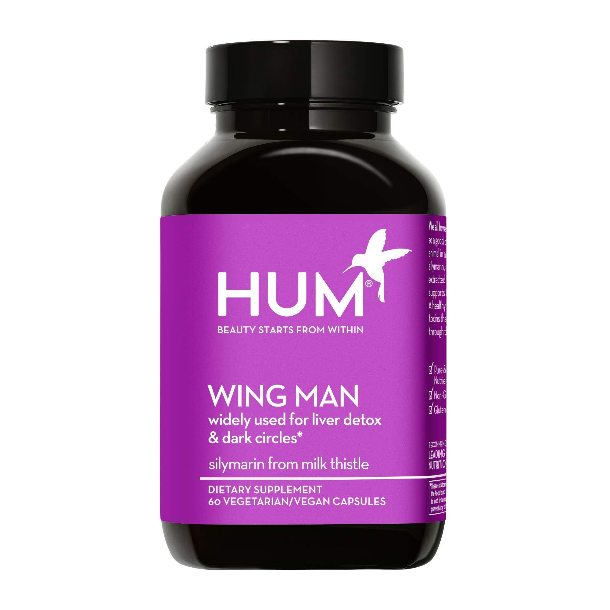 HUM Wing Man - Liver Detox Supplement - Silymarin Milk Thistle, Dandelion & Artichoke Leaf Support Skin Detox, Healthy Liver, & Cleanse Body of Toxins (60 Vegan Capsules)