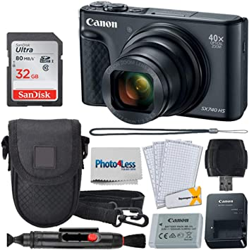 Amazon Com Canon Powershot Sx740 Hs Digital Camera Black 32gb Memory Card Point Shoot Case Usb Card Reader Lens Cleaning Pen Lcd Screen Protectors Photo4less