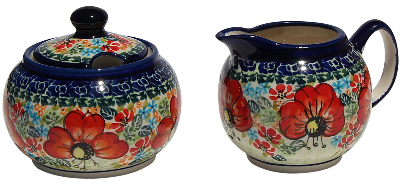 Polish Pottery Sugar Bowl and Creamer From Zaklady Ceramiczne Boleslawiec #694/711-296 Art Unikat Signature Pattern, Sugar Bowl: Height: 3.7'' Creamer: Height: 3.4''