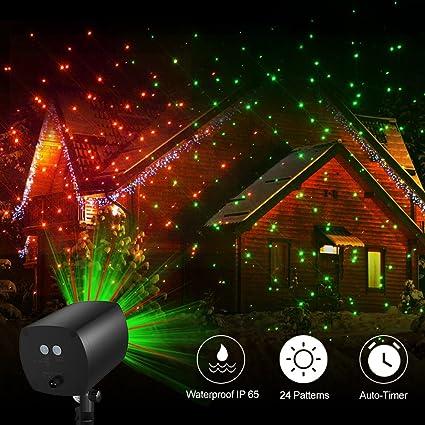 bean 24 patterns christmas landscape lights galaxy star projector lights auto timer outdoor - Christmas Walkway Lights
