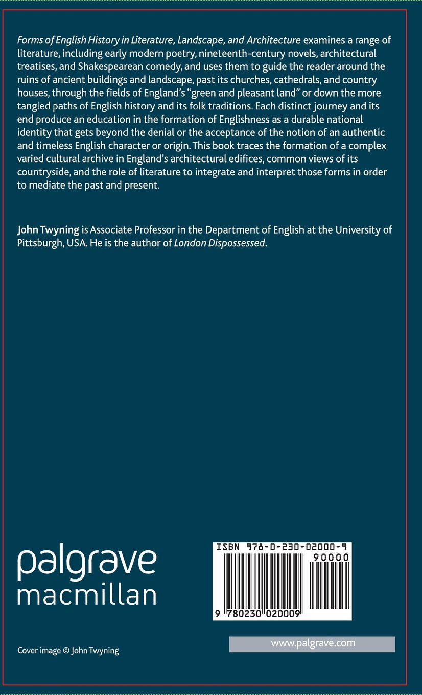 Forms of English History in Literature, Landscape, and Architecture (Language, Discourse, Society)