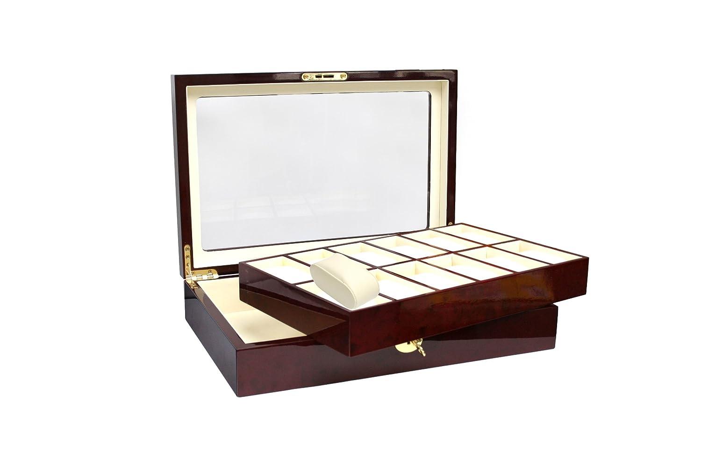 Safe Uhren-Kassette für Mit 12 Uhren Cassette Pour 12 Montres ! Watch cassette for 12 watches,Braun, 393mm x 274mm x 122mm