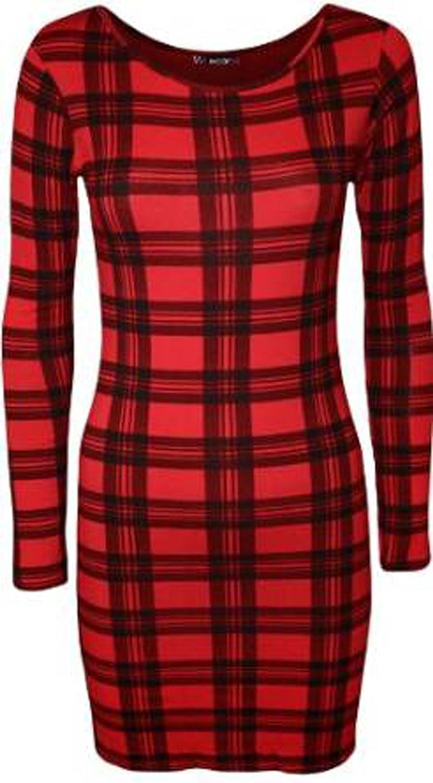 FashionMark Womens Wet Look Long Sleeves Tartan Check Print Dress Tunic Top