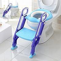 Makone Luchild Adjustable Baby Potty Toilet Trainer Ladder Seat with Step Stool (Blue)