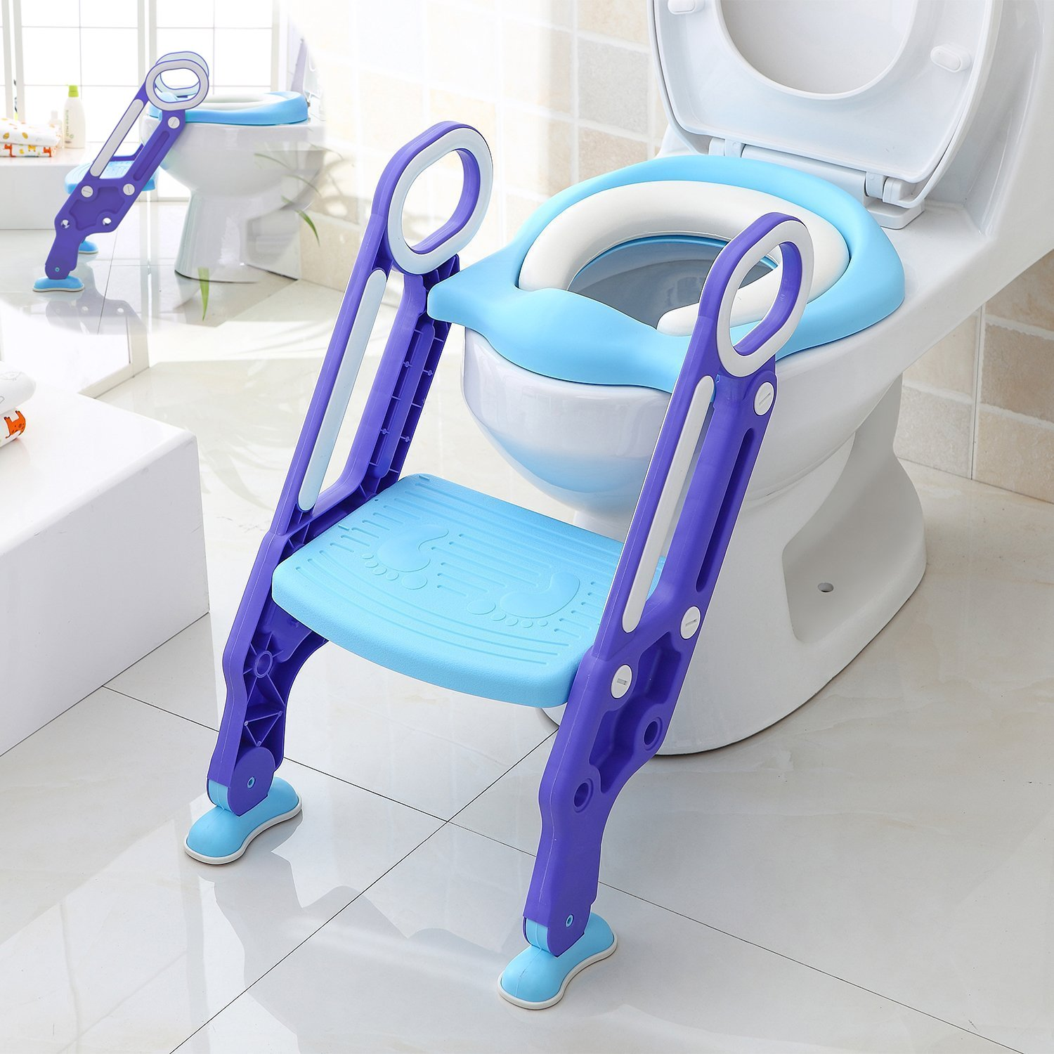 Makone Potty Trainer Seat Adjustable Baby Potty Toilet Ladder Seat with Step Stool Ladder for Todderls Baby by Makone (Image #1)