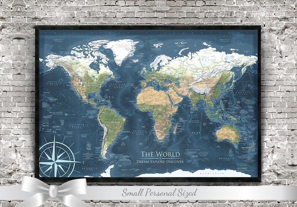 Push Pin Travel Map - 24x18 inch framed map - The Voyager 2 World Map - Designed by a Professional Geographer