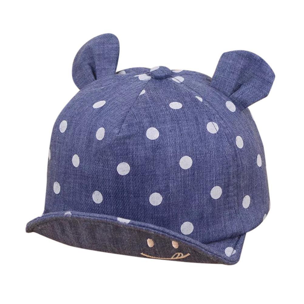 Sumen Baby Summer Caps Girl Boys Sun Hat with Ear Cute Dot Print Unisex Infant Cap (Dark Blue)