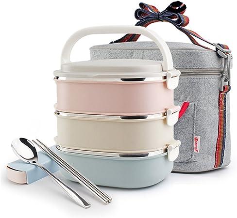 Fiambreras Caja de almuerzo cuadrada del acero inoxidable, bolso del envase de la cerradura, cuchara y palillos del sistema del calor/Porta alimentos: Amazon.es: Hogar