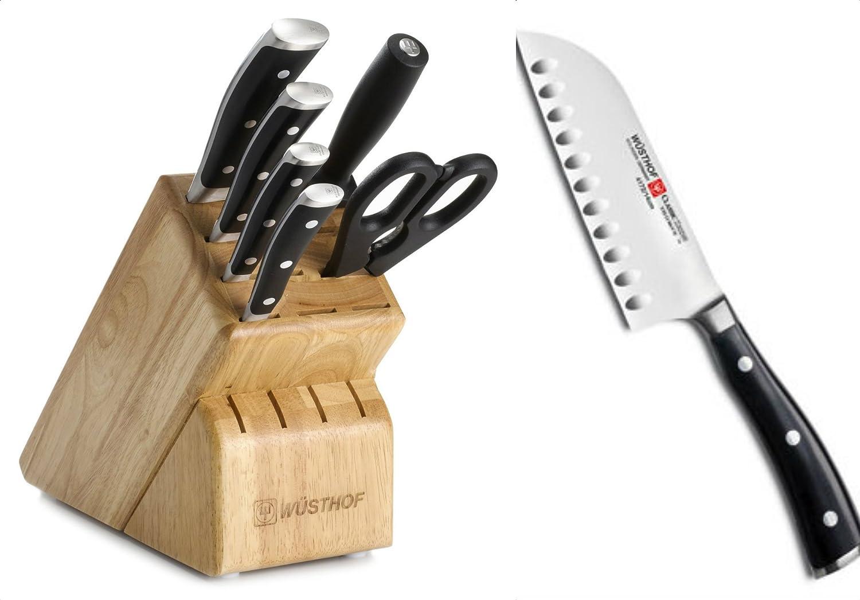 Amazon Wusthof Classic Ikon 7 Piece Knives Block Set 8347 Bonus 4172 5 Santoku Knife Kitchen Dining
