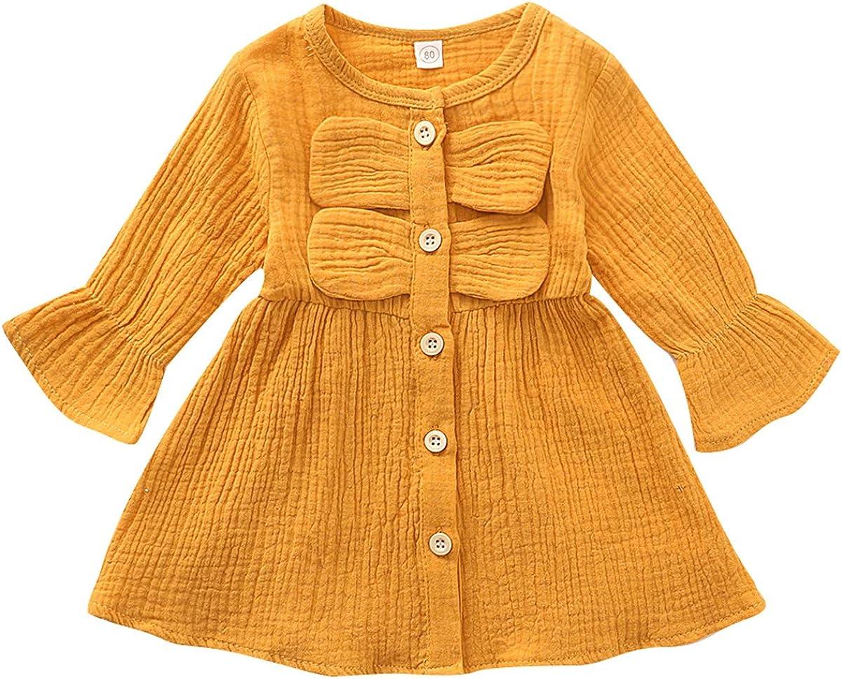 DaMohony Baby Girl Dress Bell Sleeve Button Skirt Cute Bowknot Dress Newborn Girl Clothes Dress Set