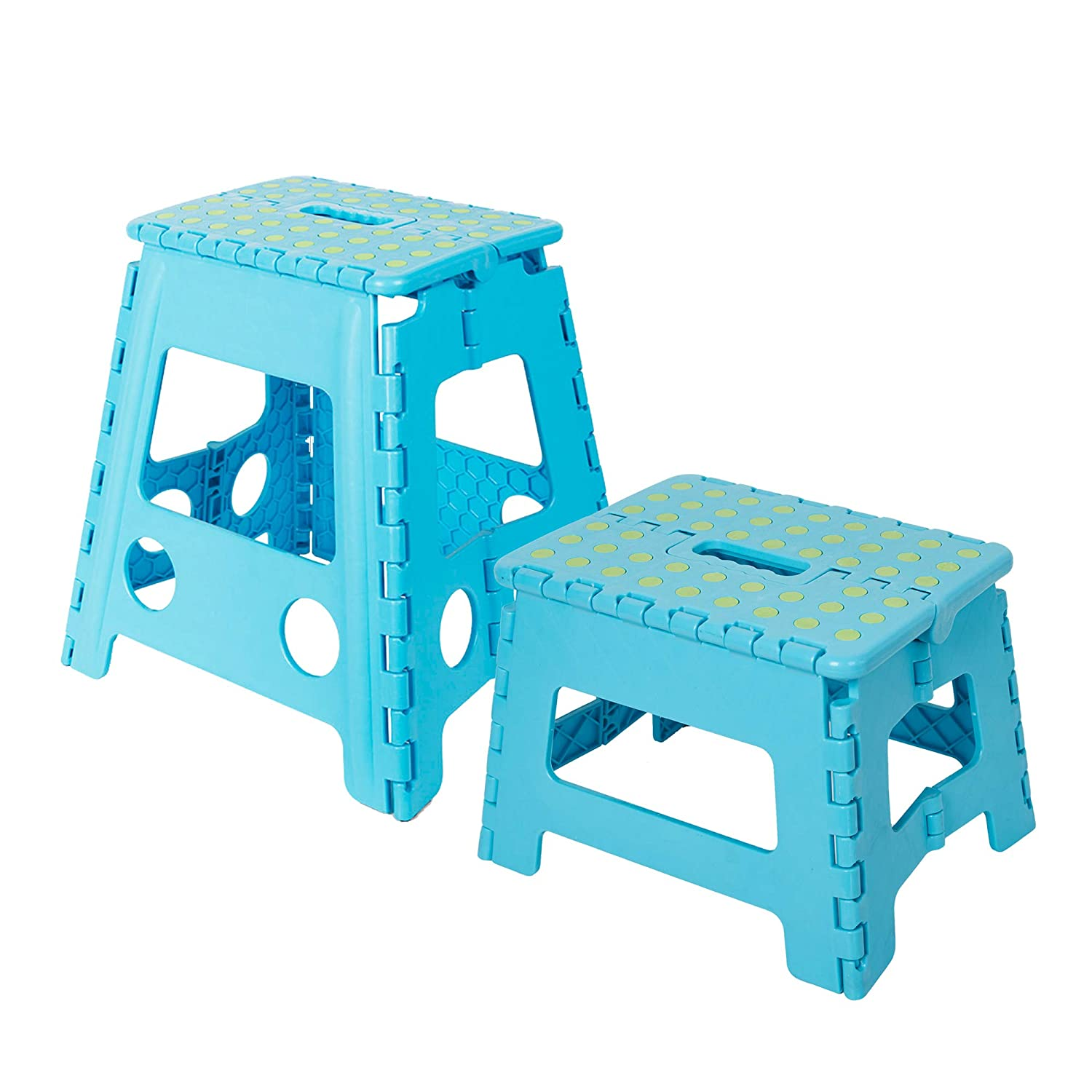 Dporticus Folding Step Stool 16 inches + 9 inches Super Strong Foldable Stool for Kids & Adults, Kitchen Garden Bathroom(Purple 2PC)