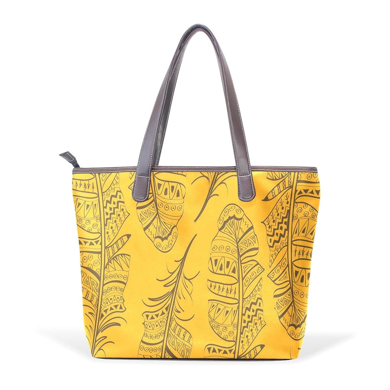 Womens Leather Tote Bag,Cartoon Animal Feather Yellow,Large Handbag