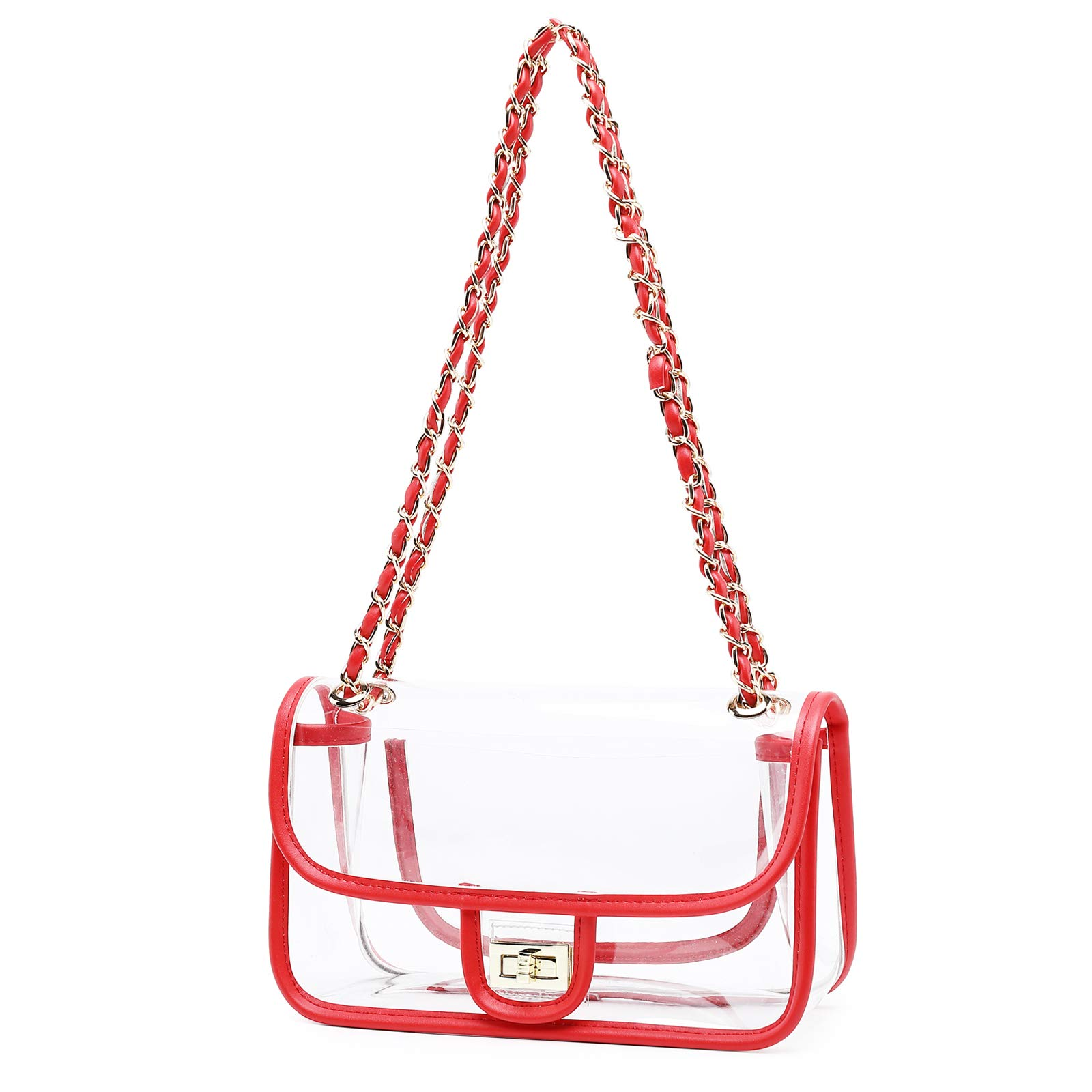 Lam Gallery Womens Clear Handbag Purses NFL Stadium Approved PVC Bag for Football Games Turn Lock Chain Shoulder Crossbody Bags Transparent Plastic Bag See Through Bag for Work and Concert Red
