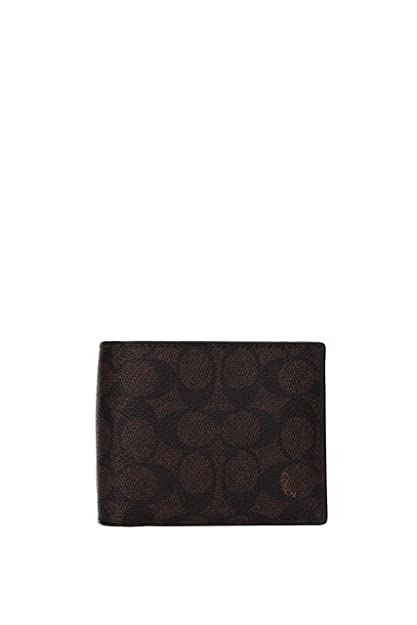 4b8a95010efd Amazon.com: COACH Men's Signature C Compact ID Wallet Mahogany One ...