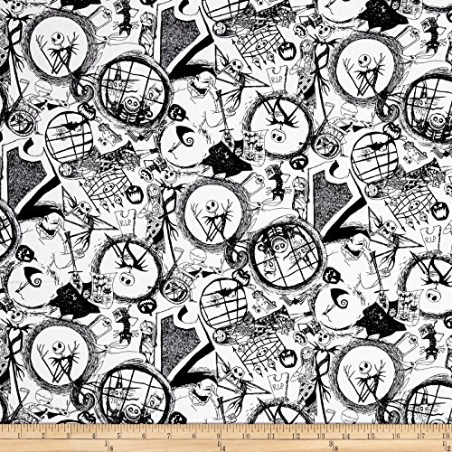 Springs Creative Products Disney Nightmare Before Christmas Tossed World of Nightmare Before Christmas Black Fabric by The Yard]()