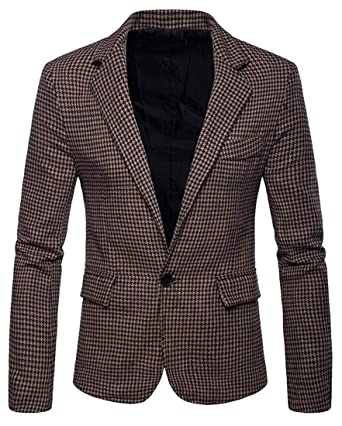 db7f458926e Bloomyma Men s Casual Business Slim Fit One Button Plus Size Houndstooth  Dress Blazer Jacket Sport Coat