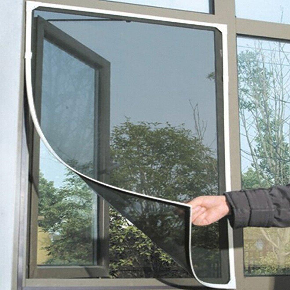 Hunzed Home & Kitchen Mesh Screen Window - Anti Mosquito Bug Insect Fly Window Screen Mesh Net Curtain Hands Free (Gray)