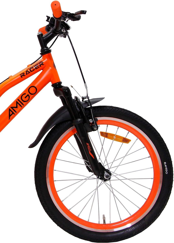 Amigo Racer - Bicicleta de montaña para niños y niñas de 20 pulgadas, apta a partir de 120 cm, suspensión completa, con freno de mano y soporte, color naranja: Amazon.es: Deportes y