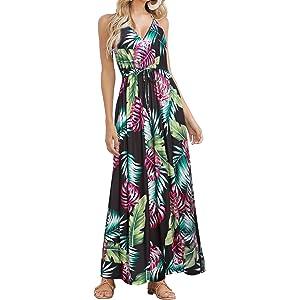 HUSKARY Womens Sleeveless V Neck Spaghetti Strap Pockets Floral Print Beach  Boho Tropical Summer Maxi Dress 48a90033f