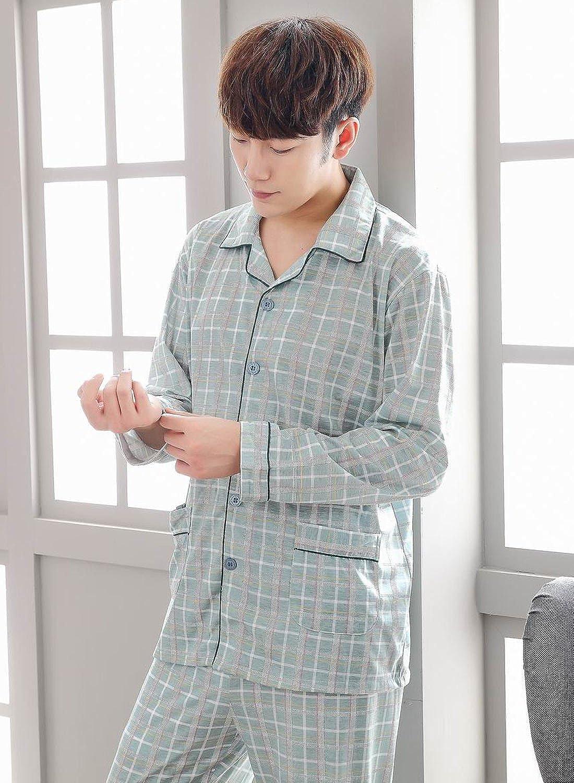 Men Long Sleeve Sleepwear Set Soft Cotton Check Spring Fashion Pyjama