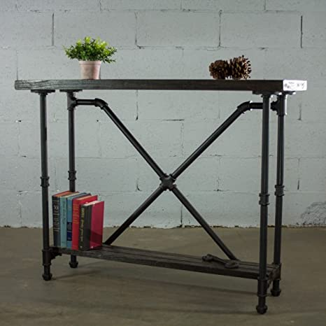 Excellent Furniture Pipeline Houston Industrial Vintage 2 Tier Pipe Solid Wood Console Sofa Hall Entry Bookcase Table Etagere Metal And Reclaimed Aged Wood Download Free Architecture Designs Scobabritishbridgeorg