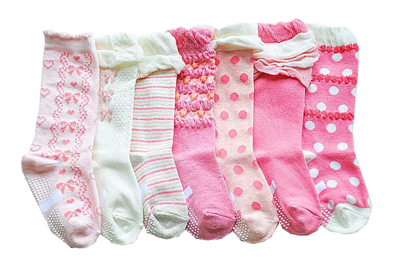 Baby Girls Non Skid Cotton Pink Peries Toddler Socks Knee High Socks 7-Pairs