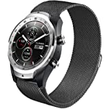 Aimtel Compatible Ticwatch Pro Band/Galaxy Watch (46mm),22mm Metal Milanese Replacement Band Compatible Ticwatch Pro/Samsung Gear S3 Frontier / S3 Classic/Galaxy Watch 46mm (Black) …