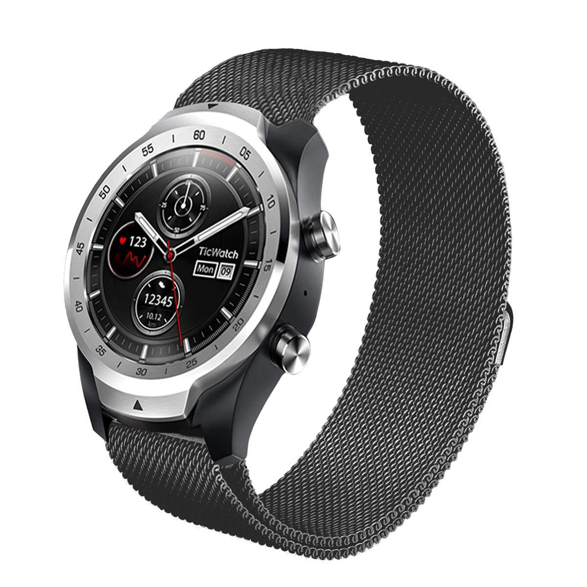 Aimtel para Ticwatch Pro Correa de Acero Inoxidable, 22 mm, Correa de Metal de Repuesto Accesorios para Tic Watch Pro (Plata-1)