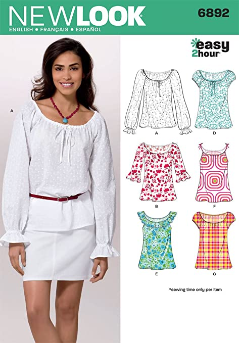 New Look 6892 Size A Misses\' Tops Sewing Pattern, Multi-Colour ...