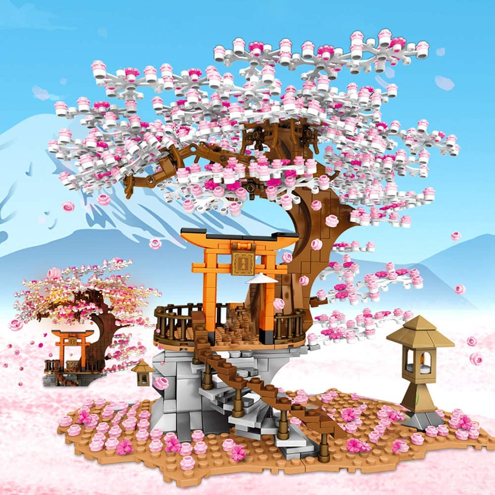 NEWRICE Tree House,City Street View Sakura Creative Building Blocks Set Present Gift for Adults,or Aged 6+ Kids Boys Girls 1103 Pieces Architecture Inari Shrine Building Bricks Toy