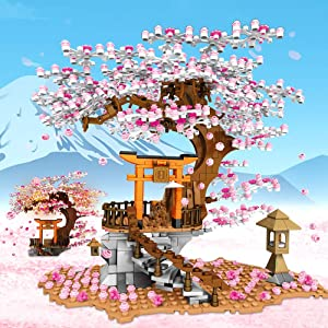 NEWRICE Sakura Tree House Lights Building Kit,City Architecture Inari Shrine Building Blocks Sets,for Adults,or Aged 10+ Boys Girls (1103 Pieces)