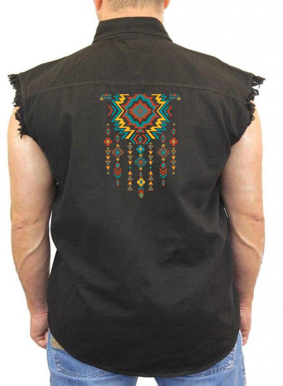 Native American Sleeveless Denim Vest Aztec Jewelry M-5XL (Black, 3XL)