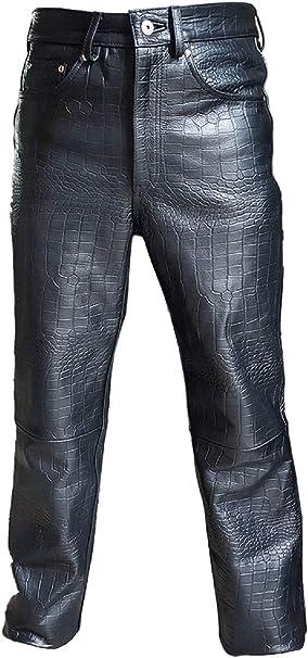 Men/'s Black Real Genuine Hide Premium Leather Motorcycle Biker Jeans Trousers