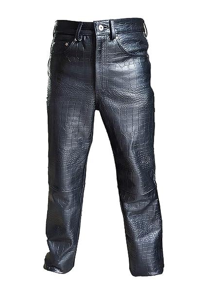 Amazon.com: Pantalones vaqueros de piel auténtica para ...