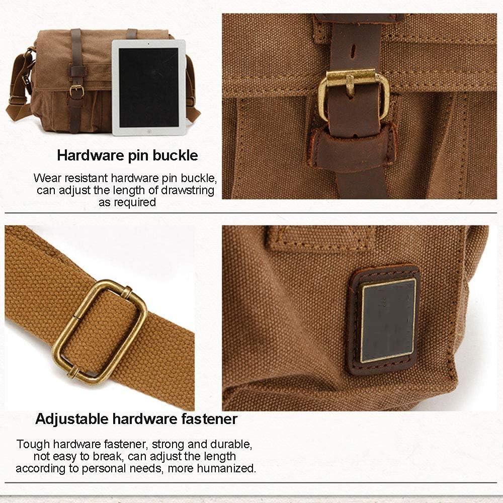 WOTR Messenger Bag Camera Laptop Bag,Camera Shoulder Bag with Leather Trim Canvas Camera Shoulder Bag for Mirrorless,DSLR Cameras