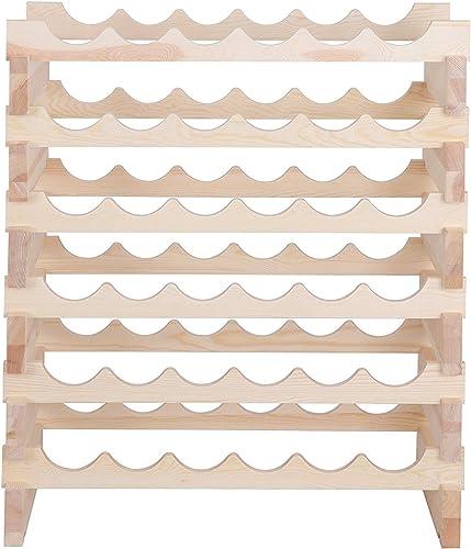 Smartxchoices 36 Bottle Stackable Wine Rack Wood Modular Wine Storage Rack Wine Holder Display Shelf