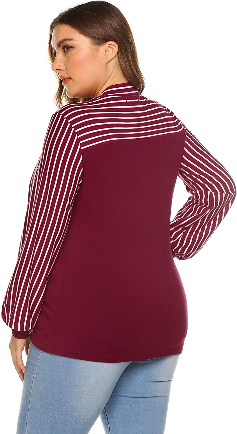 IN'VOLAND Women's Plus Size Tie-Bow Neck Striped Blouse Long Sleeve Shirt Casual Office Work Splicing Blouse Shirts Tops Wine Red pxCMt
